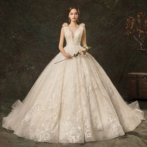 Charming Champagne Wedding Dresses 2019 A-Line / Princess See-through Deep V-Neck Lace Flower Appliques Sleeveless Backless Cathedral Train