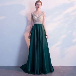 Luxury / Gorgeous Dark Green Evening Dresses  2018 A-Line / Princess Crystal Beading Rhinestone V-Neck Strapless Backless Sleeveless Sweep Train Formal Dresses
