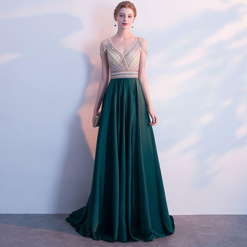 Luxury / Gorgeous Dark Green Evening Dresses  2018 A-Line / Princess Crystal Beading Rhinestone V-Neck Strapless Backless Sleeveless Sweep Train Formal Dresses
