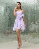 Sweetheart Ruffle Bowknot Zipper Sleeveless Mini Length Chiffon Woman Bridesmaid Dress