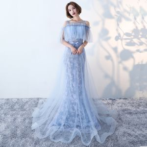 Chic / Beautiful 2017 Ink Blue Evening Dresses  U-Neck Appliques Backless Trumpet / Mermaid Party Dresses
