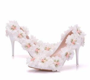 Eleganckie Białe Buty Ślubne 2018 Aplikacje Rhinestone 9 cm Szpilki Szpiczaste Ślub Czółenka
