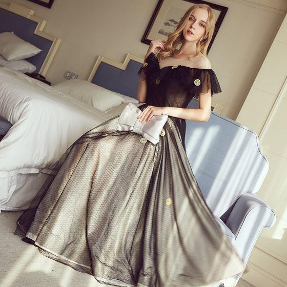 Hermoso Negro Vestidos de noche 2017 A-Line / Princess U-escote Tul Apliques Sin Espalda Noche Vestidos Formales