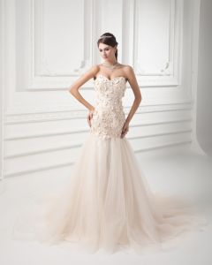 Tulle Applique Beading Sweetheart Court Train Mermaid Wedding Dress