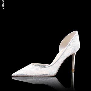 Haut de Gamme Blanche Demoiselle D'honneur Mariage Escarpins 2020 En Dentelle 8 cm Talons Aiguilles À Bout Pointu Chaussure De Mariée