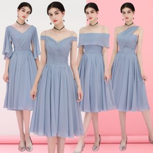Affordable Grey Chiffon Bridesmaid Dresses 2018 A-Line / Princess Tea-length Ruffle Backless Wedding Party Dresses