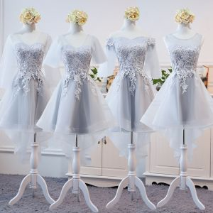High Low Grey See-through Summer Bridesmaid Dresses 2018 A-Line / Princess Appliques Lace Asymmetrical Ruffle Backless Wedding Party Dresses