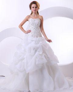 Elegant Satin Organza Beadings Ruffles Embroidery Chapel Bridal Ball Gown Wedding Dress