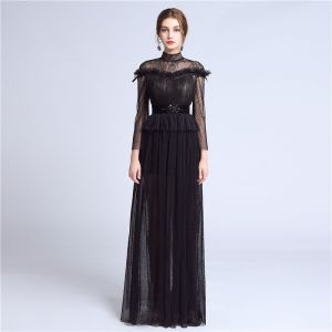 Elegant Black Lace Evening Dresses  2018 A-Line / Princess High Neck Long Sleeve Beading Sash Floor-Length / Long Pleated Formal Dresses