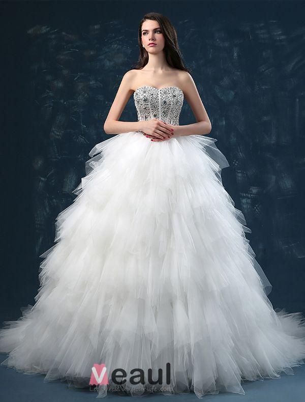 2015 Luxury Sweetheart Sleeveless Sequined Upper Corset Cascading Ruffles Ball Gown Wedding Dress