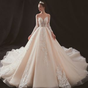 Illusion Champagne See-through Wedding Dresses 2019 A-Line / Princess Scoop Neck Backless Long Sleeve Pierced Appliques Lace Beading Chapel Train Ruffle