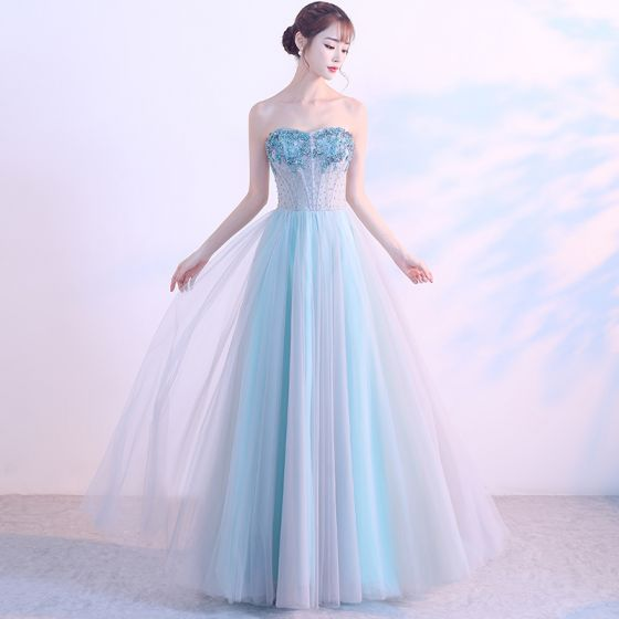 Chic / Beautiful Pool Blue Prom Dresses 2018 A-Line / Princess Beading Crystal Sequins Sweetheart Backless Sleeveless Floor-Length / Long Formal Dresses