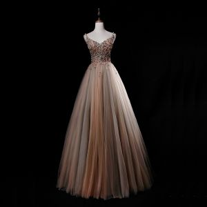 Luxury / Gorgeous Champagne Grey Prom Dresses 2019 A-Line / Princess Spaghetti Straps Sleeveless Appliques Lace Beading Floor-Length / Long Ruffle Backless Formal Dresses