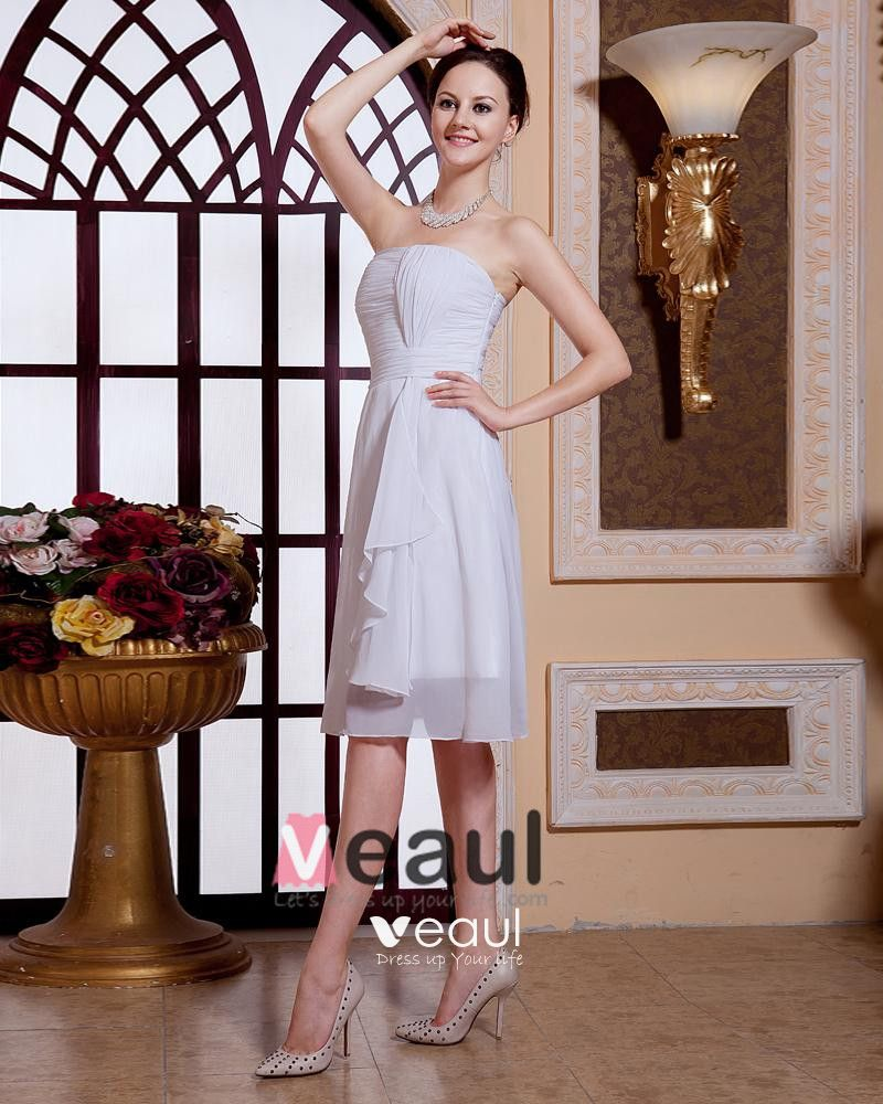 Stylish Ruffle Strapless Knee Length Chiffon Bridesmaid Dress