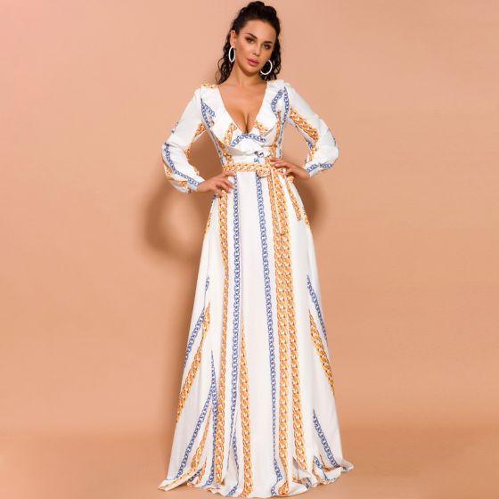 Piękne Białe Święto Długie sukienki 2020 Otoczka / Nadające Głęboki V-Szyja Bufiasta Długie Rękawy Druk Szyfon Podział Przodu Długie Odzież damska