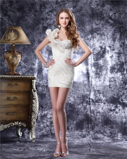One Shoulder Short Ruffles Beading Pleated Satin Mini Wedding Dress