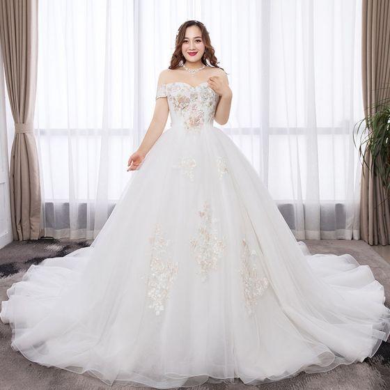Chic Beautiful White Plus Size Wedding Dresses 2019 A Line