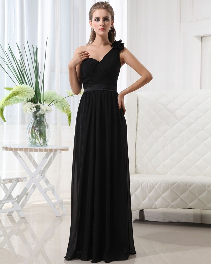 Beautiful Empire One Shoulder Floor Length Chiffon Women's Bridesmaid Dress