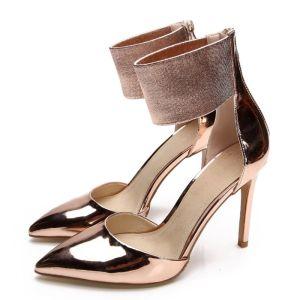 Chic / Belle Doré Soirée Chaussures Femmes 2020 Cuir 10 cm Talons Aiguilles À Bout Pointu Talons Hauts