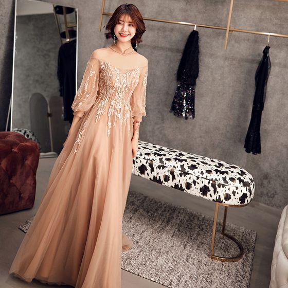 Elegant Champagne Gold See-through Prom Dresses 2019 A-Line / Princess High Neck Puffy 3/4 Sleeve Appliques Lace Beading Sweep Train Ruffle Backless Formal Dresses