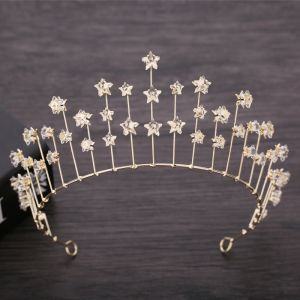 Chic / Beautiful Gold Bridal Hair Accessories 2019 Metal Star Crystal Tiara Wedding Accessories