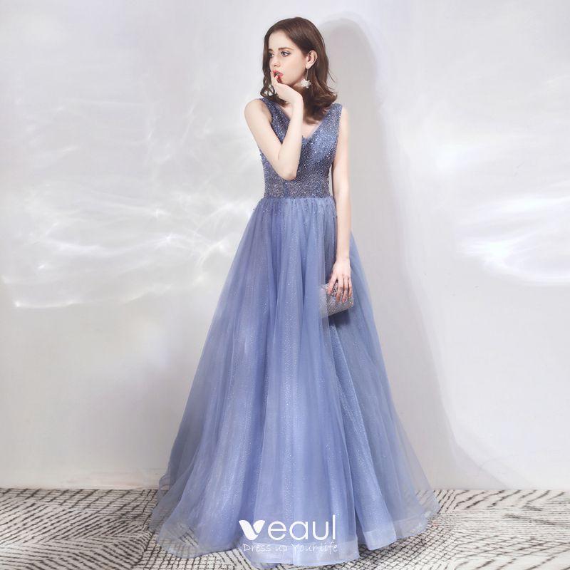 db049ad5346e9 Luxury / Gorgeous Royal Blue Evening Dresses 2019 A-Line / Princess ...