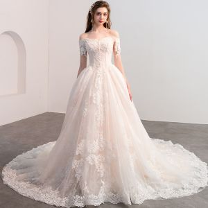 Luxury / Gorgeous Champagne Wedding Dresses 2018 A-Line / Princess Appliques Lace Beading Pearl Off-The-Shoulder Backless Short Sleeve Cathedral Train Wedding