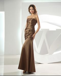 Strapless Sleeveless Zipper Pleated Ankle Length Satin Woman Bridesmaid Dress