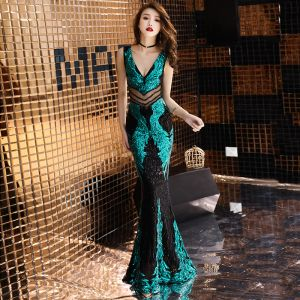 Sexy Black Green Sequins See-through Evening Dresses  2019 Trumpet / Mermaid Deep V-Neck Sleeveless Beading Glitter Floor-Length / Long Backless Formal Dresses