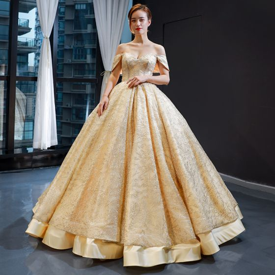 Luxury / Gorgeous Gold Satin Dancing Prom Dresses 2020 Ball Gown Sweetheart Detachable Short Sleeve Appliques Lace Floor-Length / Long Ruffle Backless Formal Dresses