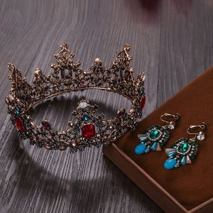 Vintage / Retro Baroque Bronze Tiara Earrings Bridal Jewelry 2020 Alloy Rhinestone Wedding Accessories