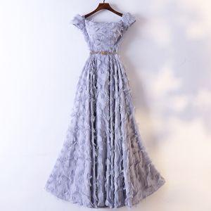 Piękne Szary Sukienki Wieczorowe 2017 Princessa Metal Szarfa Kutas Przy Ramieniu Kótkie Rękawy Długość Kostki Sukienki Wizytowe