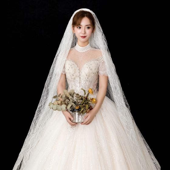 Modest / Simple White Wedding Veils 2020 Tulle Striped Snakeskin Print Wedding Accessories