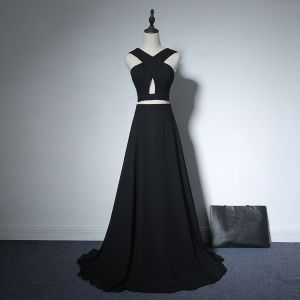 2 Piece Evening Party Formal Dresses 2017 Evening Dresses  Black A-Line / Princess Sweep Train Backless V-Neck Sleeveless