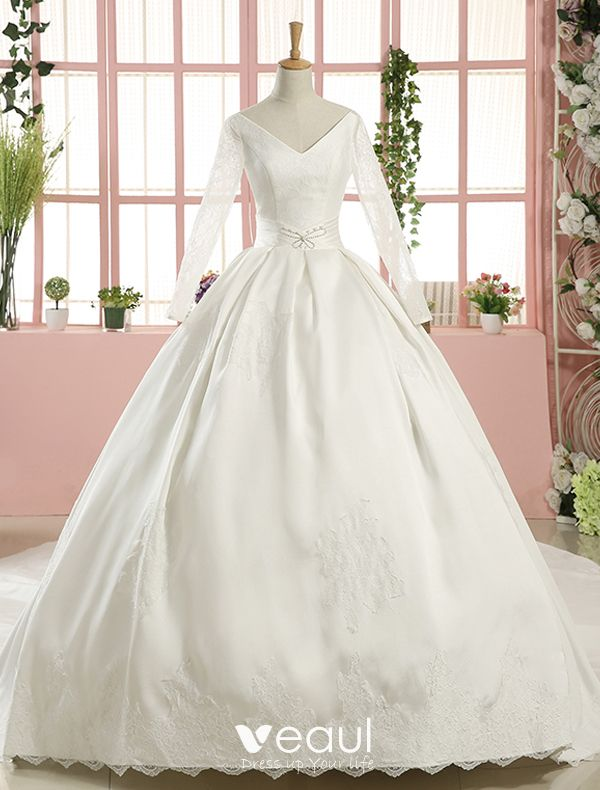 2016 Gorgeous Ball Gown V Neck Long Sleeves Applique Lace Backless White Satin Wedding Dress With 1 M Tailing,Ball Gown Wedding Dress Sparkle