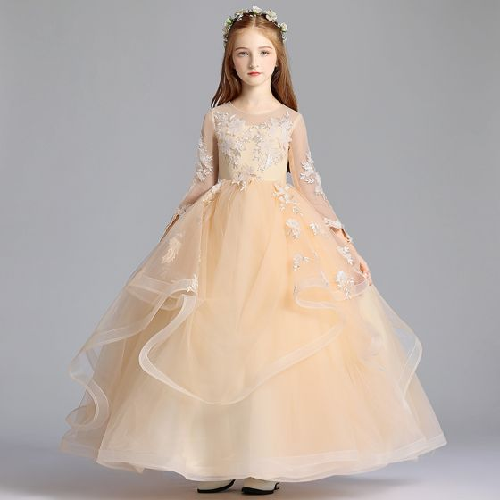 Chic / Beautiful Champagne See-through Flower Girl Dresses 2019 A-Line / Princess Scoop Neck 3/4 Sleeve Appliques Lace Floor-Length / Long Cascading Ruffles Wedding Party Dresses