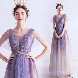 Elegant Purple Gradient-Farge Champagne Selskapskjoler 2020 Prinsesse Gjennomsiktig Dyp v-hals Korte Ermer Appliques Stjerne Glitter Tyll Lange Buste Ryggløse Formelle Kjoler