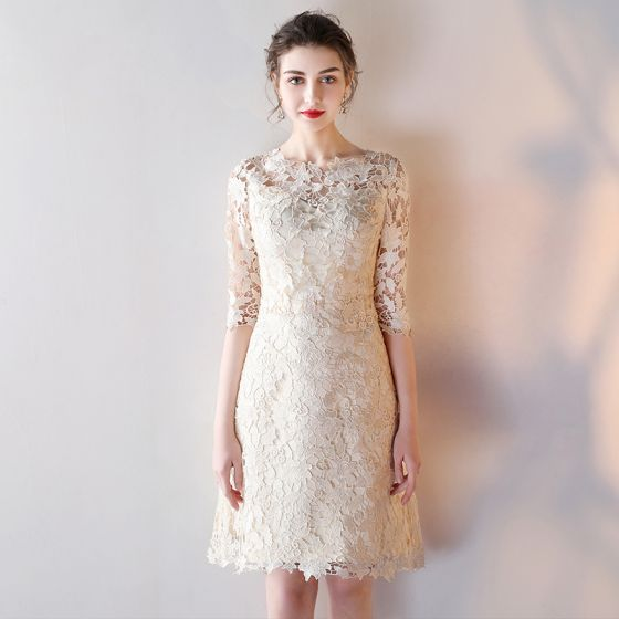 Elegant Graduation Dresses Champagne 2017 3/4 Sleeve Lace Zipper Up Appliques Backless Pierced Printing U-Neck Cocktail Party Evening Party Ball Gown Outdoor / Garden