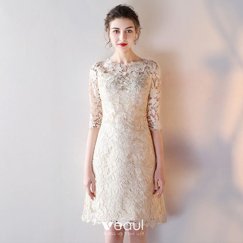 3257f41838 Elegant Graduation Dresses Champagne 2017 3/4 Sleeve Lace Zipper Up ...