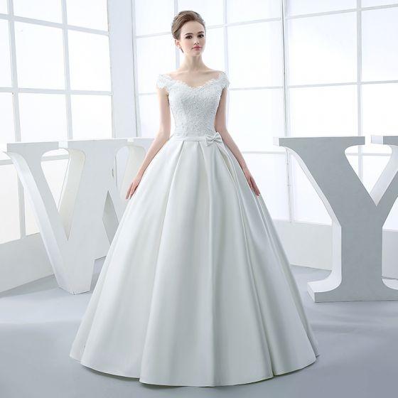 hermoso pasillo vestidos de novia 2017 largos blanco ball gown v