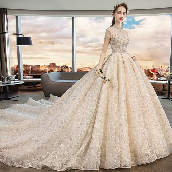 Vintage / Retro Champagne See-through Wedding Dresses 2019 A-Line / Princess High Neck Sleeveless Backless Appliques Lace Beading Tassel Sequins Cathedral Train Ruffle