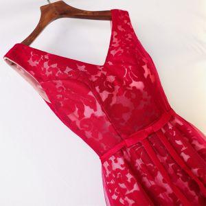 Schöne Rot Chinesischer Stil Abendkleider 2017 A Linie V-Ausschnitt Ärmellos Gekreuzte Träger Riemchen Spitze Tülle Lange Abend