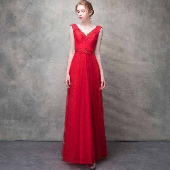 Hermoso Rojo Vestidos de noche 2017 A-Line / Princess Crystal Con Encaje Flor Rebordear Lentejuelas V-Cuello Sin Espalda La altura del tobillo Vestidos Formales
