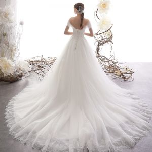 Elegant Ivory Wedding Dresses 2019 A-Line / Princess Off-The-Shoulder Short Sleeve Backless Glitter Tulle Court Train Ruffle
