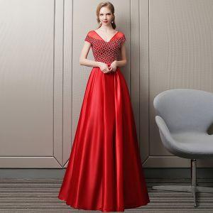 Luxury / Gorgeous Red Evening Dresses  2018 A-Line / Princess Handmade  Beading Crystal Rhinestone V-Neck Backless Short Sleeve Floor-Length / Long Formal Dresses