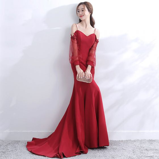Modern / Fashion Red Evening Dresses  2017 Trumpet / Mermaid Spaghetti Straps Pierced Long Sleeve Strapless Appliques Lace Pearl Court Train Ruffle Backless Formal Dresses