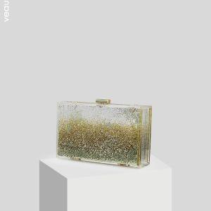 Gennemsigtig Guld Glitter Akryl Clutch Taske 2019