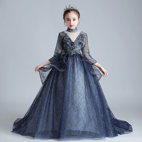 Vintage / Retro Navy Blue See-through Birthday Flower Girl Dresses 2020 Ball Gown High Neck 3/4 Sleeve Flower Appliques Lace Beading Pearl Sweep Train Ruffle