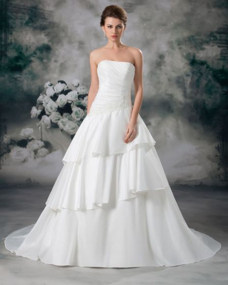 Satin Applique Floor Length Strapless Ball Gown Tiered Women A Line Wedding Dress