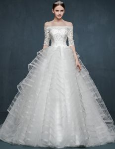 2015 Winter Dicke Langärmlige Spitzen-boot-ausschnitt Hochzeitskleid